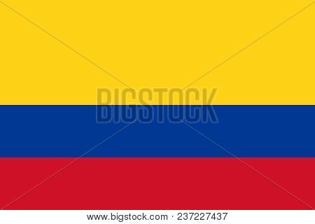 Official Large Flat Flag Of Colombia Horizontal