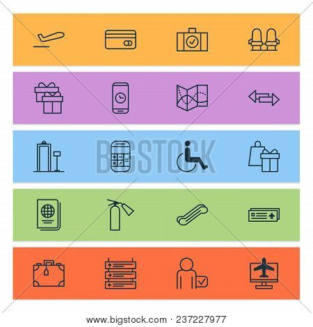 Airport Icons Set With Credit Card, Phone Time, Travel Map And Other Airport Card Elements. Isolated