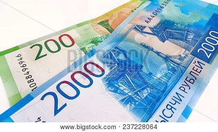 New Russian Money, Banknotes Worth Two Thousand And Two Hundred Rubles, Close-up