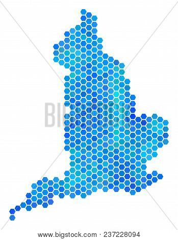 Hexagon Blue England Map. Vector Geographic Map In Blue Color Tones On A White Background. Blue Vect