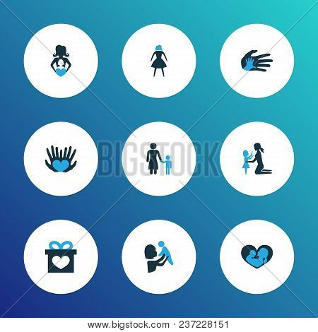 Mothers Day Icon Colored Design Concept. Set Of 9 Such Elements As Nanny, Infant And Daughter. Beaut