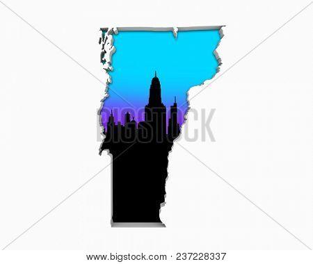 Vermont VT Skyline City Metropolitan Area Nightlife 3d Illustration