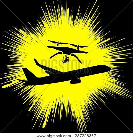 Drone Causes Air Crash. Airplane Collision Triggered By Civilian Drone