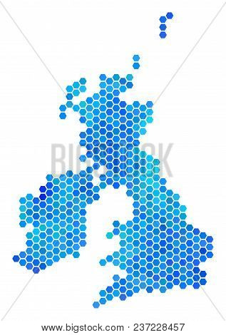 Blue Hexagon Great Britain And Ireland Map. Vector Geographic Map In Blue Color Tones On A White Bac