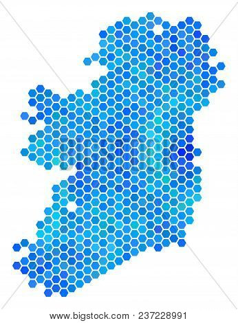 Hexagon Blue Ireland Island Map. Vector Geographic Map In Blue Color Tones On A White Background. Bl