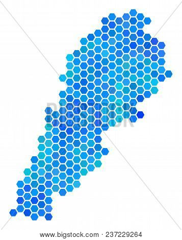 Hexagon Blue Lebanon Map. Vector Geographic Map In Blue Color Tints On A White Background. Blue Vect