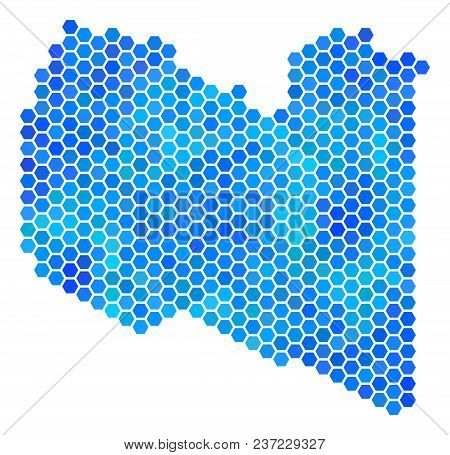 Hexagon Blue Libya Map. Vector Geographic Map In Blue Color Tones On A White Background. Blue Vector