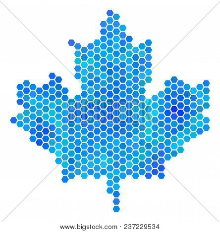 Hexagon Blue Maple Leaf. Vector Geographic Map In Blue Color Tones On A White Background. Blue Vecto
