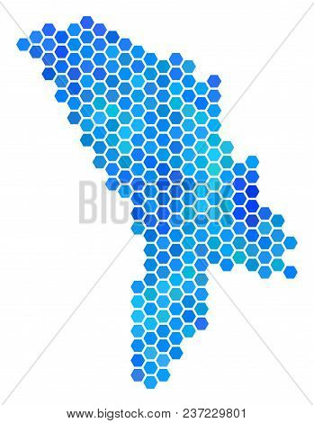 Hexagon Blue Moldova Map. Vector Geographic Map In Blue Color Tints On A White Background. Blue Vect