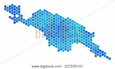 Blue Hexagon New Guinea Island Map. Vector Geographic Map In Blue Color Shades On A White Background