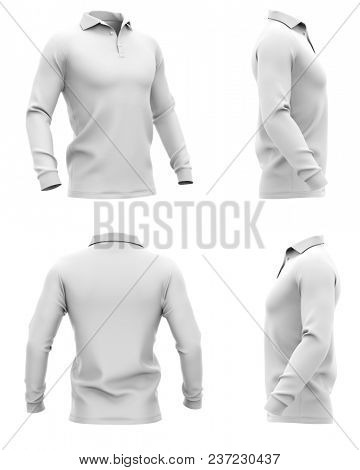 Men's polo shirt with long sleeves. Side, half-front and back views. 3d rendering. Clipping paths included: whole object, collar, sleeve, buttons. Isolated on white background.