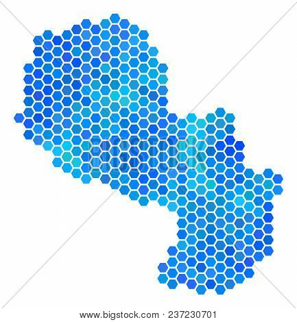 Blue Hexagon Paraguay Map. Vector Geographic Map In Blue Color Tones On A White Background. Blue Vec