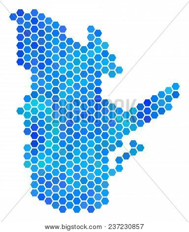 Blue Hexagon Quebec Province Map. Vector Geographic Map In Blue Color Tones On A White Background. B