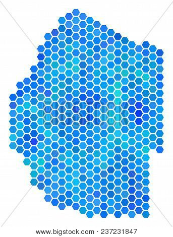 Blue Hexagon Swaziland Map. Vector Geographic Map In Cold Color Tints On A White Background. Blue Ve