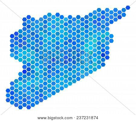 Blue Hexagon Syria Map. Vector Geographic Map In Blue Color Variations On A White Background. Blue V