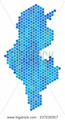 Hexagon Blue Tunisia Map. Vector Geographic Map In Blue Color Tints On A White Background. Blue Vect