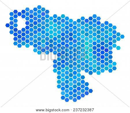 Blue Hexagon Venezuela Map. Vector Geographic Map In Blue Color Tints On A White Background. Blue Ve