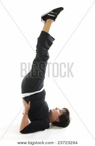 Middle Age Woman Demonstrating Yoga Position Half Shoulderstand Ardha Sarvangasana Stretch