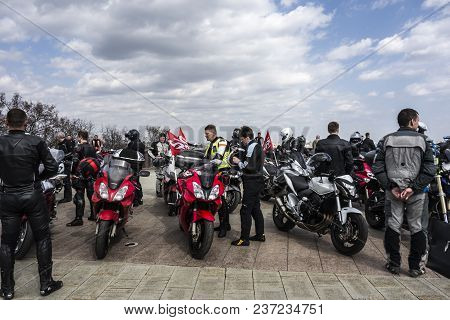 Moscow, Russia - April 21, 2018: All-russian Motorcycle Club Night Wolves Opened The Motor Season 20
