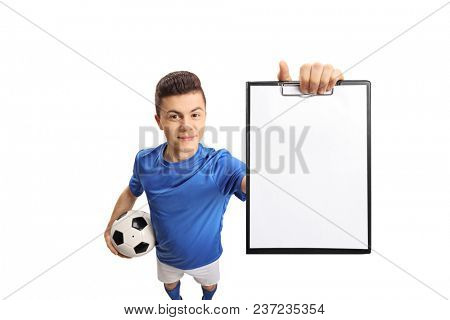 Teenage soccer player showing a clipboard isolated on white background