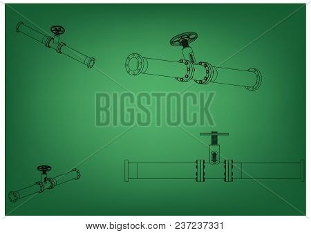 3d Model Of An Pipeline On A Green Background. Drawing
