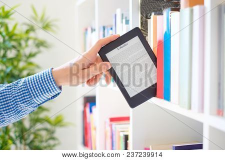 Choosing A Buying Book And Internet Book Store Concept