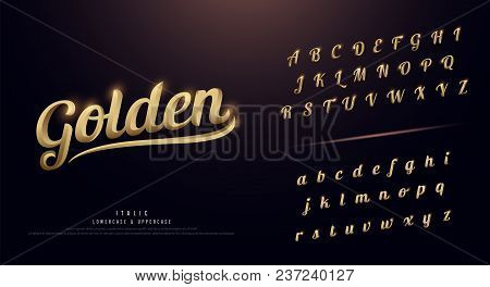 Set Of Elegant Gold Colored Metal Chrome Alphabet Font. Typography Classic Style Golden Font Set. Ve