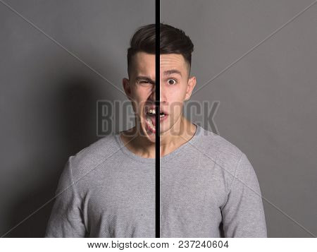 Collage Of Young Man Portraits With Double Face Expression On Gray Studio Background. Double Persona