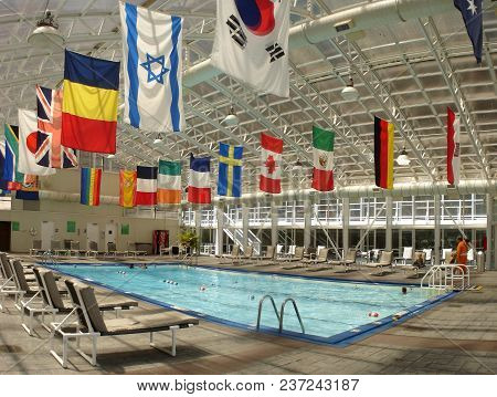 Essex Inn Hotel Swimming Pool Surrounded By The Flags Of Countries From Around The World, Chicago, I
