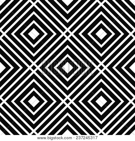 Black And White Linear Checkered Seamless Pattern. Geometric Background With Linear Squares. Basic M