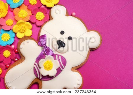 White Easter bear on pink background