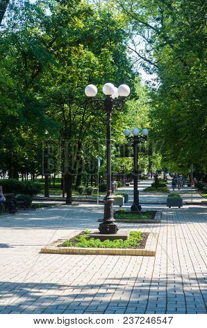 Lampposts In Spring City Park - Blooming Flower And Trees, Bright Green Grass, Sunlight