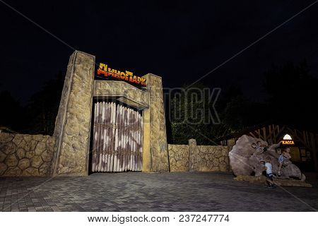 Belgorod, Russia - August 18, 2017: The Central Entrance To Belgorod City Dino Park. Night Light.