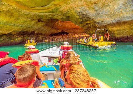 Benagil, Portugal - August 23, 2017: Benagil Cave Boat Tour Inside Algar De Benagil The Famous Sea C