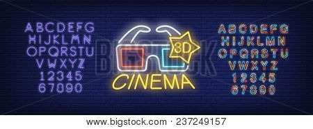 3d Cinema And Alphabet Neon Sign Set. 3d Glasses And Violet And Multicolored Letters And Numbers. Ni