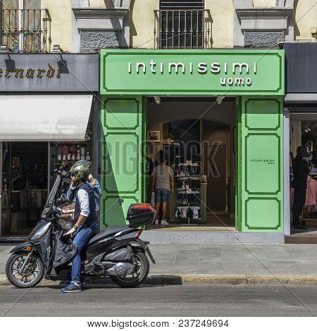 Milan, Italy - April 21st, 2018: Front Entrance Facade Of A Male Underwear Shop In Milan
