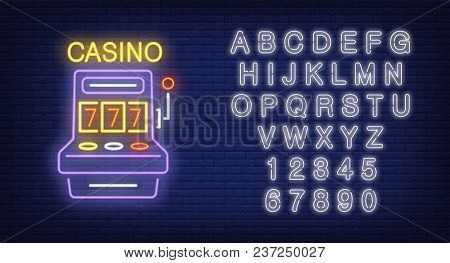 Casino And Alphabet Neon Sign Set. Slot Machine With Jackpot And White Letters And Numbers. Night Br