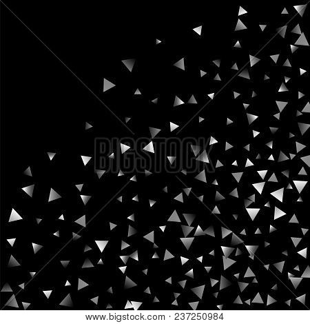 Silver Confetti Triangle On A Black Background. Abstract Celebration Background In The Form Of A Sil