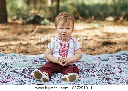 Beautiful Baby Boy One Years Old Sitting On Ground. Toddler Have Fun In Spring Forest.