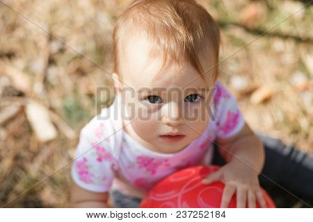 Sweet Overweight Baby Girl Looking To Camera. Close Up Portrait Of A Child. Cute Toddler With Gray E
