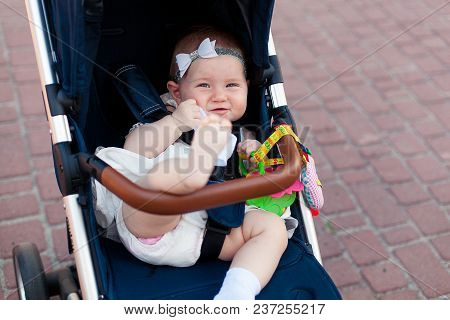 Baby Girl In Stroller Playing Toys Outside