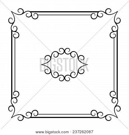 Vintage Square Frame With Swirly Corners, Decorative Design Element In Retro Style, Elegant Embellis
