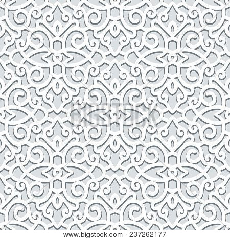 Curly Ornament, Seamless Scrollwork Pattern In Grey Color, Vector Lace Texture