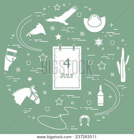 Illustration Of Eagle, Cowboy Hat, Cactus, Sheriff Star, Whiskey, Lasso, Horseshoe, Horse Head, Hols