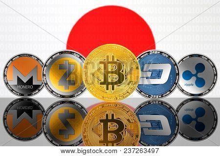 Cryptocurrency Coins - Bitcoin (btc), Monero (xmr), Zcash (zec), Ripple (xrp), Dash On The Backgroun