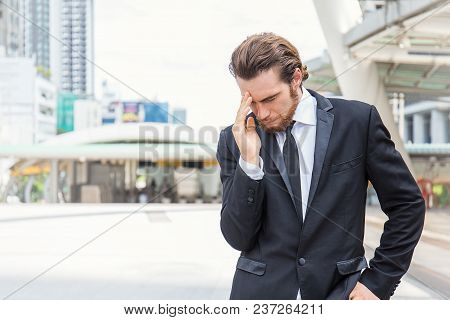 Portrait Stressed Sad Business Man Outdoors. City Urban Life Style Stress