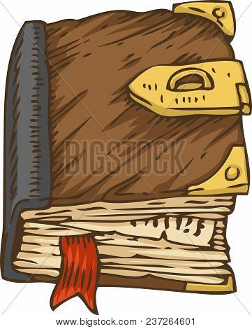 Old Book, Private Diary With Brown Cover, Red Bookmark And Golden Clasp. Isolated On White Backgroun