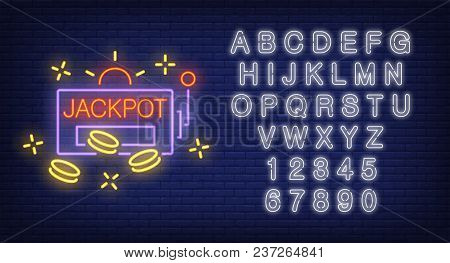 Jackpot And Alphabet Colorful Neon Sign Set. Slot Machine Shape With Chips Or Coins And White Letter