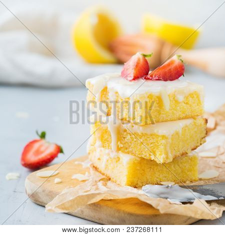 Homemade Lemon Polenta Cookie Bars With White Icing