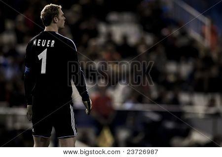 VALENCIA, SPAIN - FEBRUARY 15 - Neuer Schalke 04 Goolkeeper in the UEFA Champions League between Valencia C.F. vs Schalke 04 - Mestalla Luis Casanova Stadium - Spain on February 15, 2011